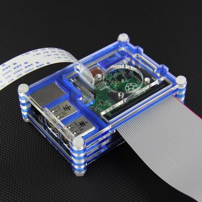 Raspberry Pi B+/2/3 Blue - Transparent Plexiglass Stratified, Fan Compatible Case