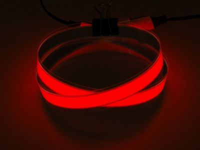 Red Electroluminescent (EL) Tape Strip - 100cm w/two connectors - AF445