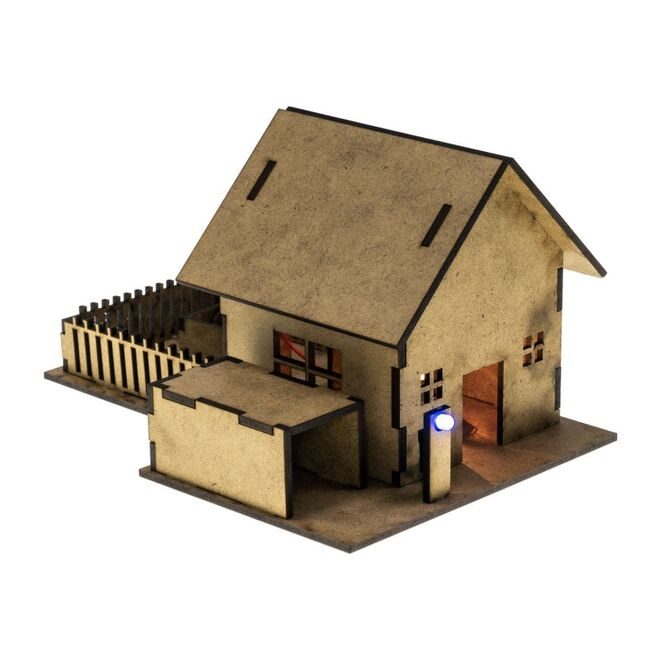 R.E.X Woody Serisi D.I.Y Ahşap Ev Seti - Elektronikle Tanışıyorum (Boyanabilir) - STEM