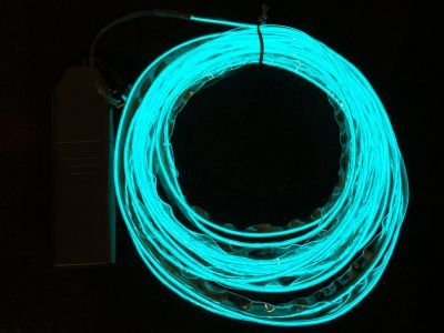 Sewable Electroluminscent (EL) Wire Welted Piping- Aqua 5 meters - AF675
