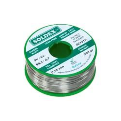 Soldex - Soldex 0.75 mm 200 g Kurşunsuz Lehim Teli (%99,3 Sn / %0,7 Cu)