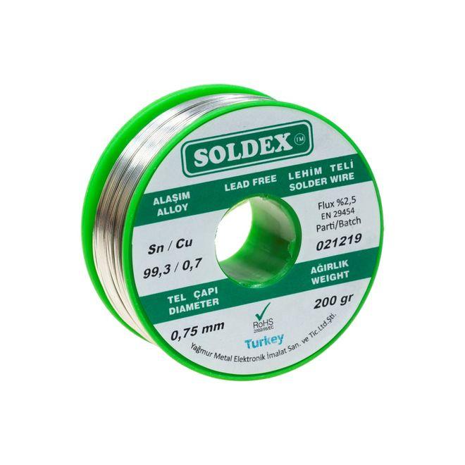 Soldex 0.75 mm 200 g Kurşunsuz Lehim Teli (%99,3 Sn / %0,7 Cu)