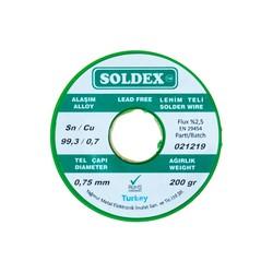 Soldex 0.75 mm 200 g Kurşunsuz Lehim Teli (%99,3 Sn / %0,7 Cu) - Thumbnail