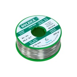 Soldex - Soldex 0.75 mm 200 gr Leadless Soldering Wire (%99,3 Sn / %0,7 Cu)