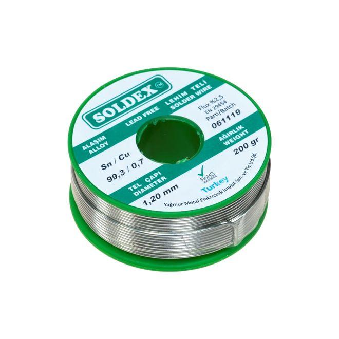 Soldex 1.20 mm 200 g Kurşunsuz Lehim Teli (%99,3 Sn / %0,7 Cu)