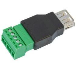 USB-A Dişi Soket - 5 Pinli Terminal Blok - Thumbnail