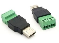 USB-A Erkek Soket - 5 Pinli Terminal Blok - Thumbnail