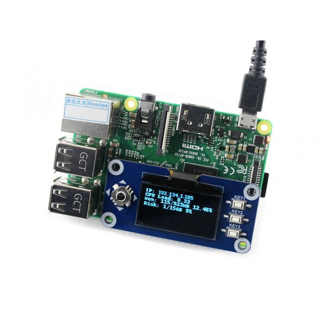 WaveShare 1.3 inch OLED Display HAT for Raspberry Pi - 128x64