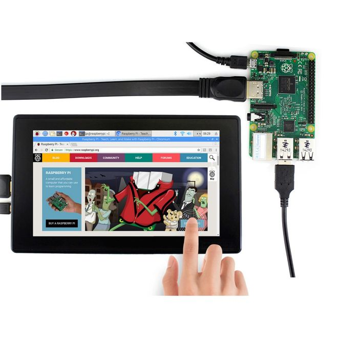 WaveShare 7 inch HDMI Capasitive Touch LCD with Case (Multi System)- 1024x600 (H)